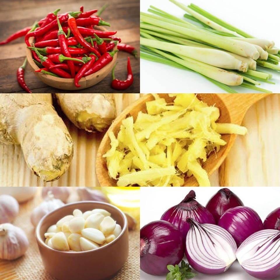 Sơ chế hành, tỏi, ớt và rau thơm